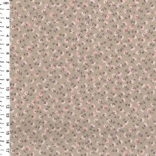 100% Cotton Pink Small Floral Print on Taupe Fabric 44